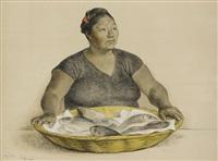mujer con pescados by francisco zúñiga