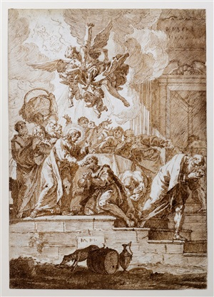 the communion of the apostles; study for an angel (verso) by francesco salvator fontebasso