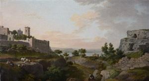 landscape with sunrise over the bay of pozzuoli by thomas jones