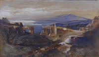 the greek theater at taormina by edward lear