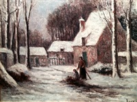 rolleboise, le hameau sous la neige by maximilien luce