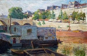 the seine at pont marie in paris by louis faehnlein