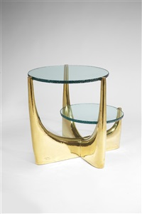 low table with two tops / guéridon avec deux plateaux by philippe hiquily