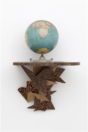 shelf with globe by haim steinbach
