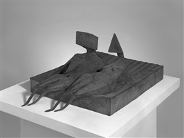 two lying figures on base by lynn chadwick