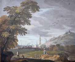figures in a hilly landscape, st. martin-in-the-fields in the background by marco ricci