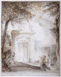 porte d'hôtel et monument funéraire à chaillot by gabriel jacques de saint-aubin