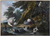 poultry, a pheasant in flight and other fowl with an estuary landscape beyond; ducks and other fowl on a riverbank with an estuary landscape beyond, a pair by aert schouman