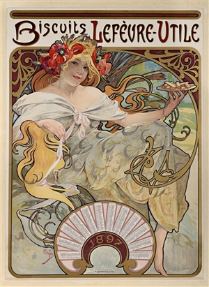 biscuits lefèvre-utile 1897 by alphonse mucha