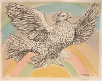 flying dove (in rainbow) by pablo picasso