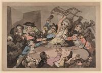 a kick-up at a hazard table by thomas rowlandson