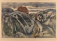 house on the coast i by edvard munch