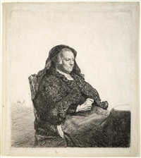 the artist's mother seated at a table by rembrandt van rijn