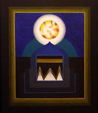 untitled (blue with white orb) by gulam rasool santosh