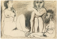 trois personnages nus assis by pablo picasso