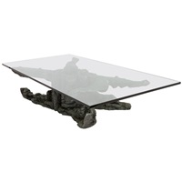 large cast aluminium base coffee table with thick glass top by jan de swart