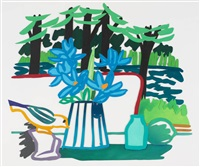still life with bird and lake by tom wesselmann