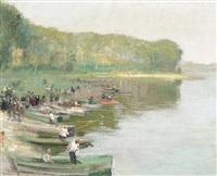 fishing on the lake by jules rené hervé