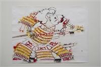 study for southland standoff (red warrior, horizontal) by gajin fujita