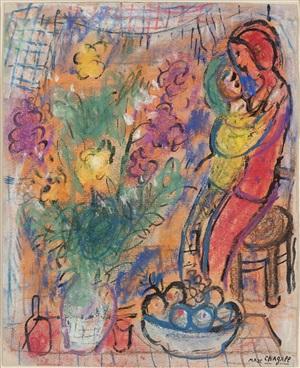 le couple aux fleurs by marc chagall