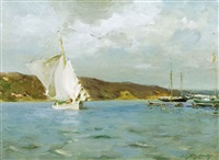 white sloop, peconic bay by irving ramsey wiles