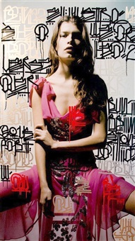 girl in red dress by retna