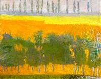 poplars on the horizon by wolf kahn