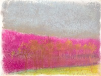 trees in a pink/gray context by wolf kahn