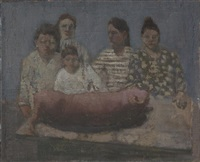 5 women butchering a pig by e.m. saniga