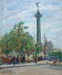place de la bastille - paris by andré eugène costilhes