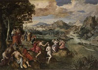 a river landscape with the baptism of christ by marten de vos