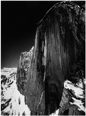 monolith, the face of half dome, yosemite valley, california by ansel adams