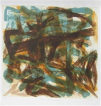 brown on blue by louise fishman