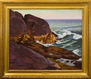 fair day, below burnt head, monhegan island by abraham jacob bogdanove