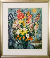 bouquet illuminant le ciel by marc chagall