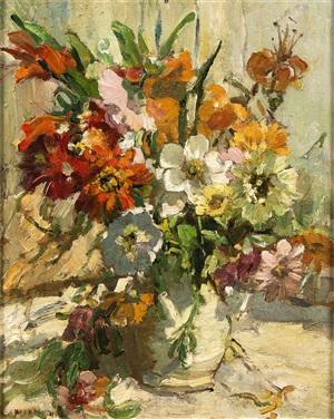 still life of summer flowers in a vase by dorothea sharp