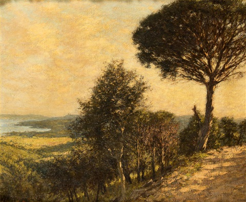 ligurian landscape by henry herbert la thangue