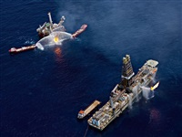 oil spill #12, q4000 drilling platform and discoverer enterprise, gulf of mexico, june 24 by edward burtynsky
