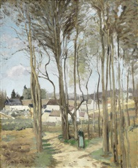 le village à travers les arbres by camille pissarro