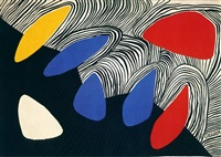 glacier with coloured petals by alexander calder