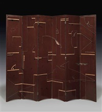 six-panel lacquer & incised screen by eileen gray