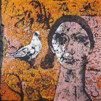portrait of figure with pigeon i by jamil naqsh