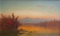 sunset at lake georg by george herbert mccord