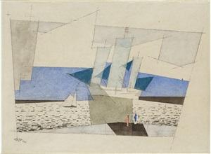 blaue segel (segelschiffe und figuren an der küste) / blue sails (sailing ships and figures on the shore) by lyonel feininger