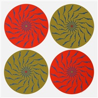 lot 122: four circles - red and green by ernest tino trova