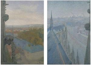 nancy, vue de la cathedrale, saint epvre, (automne) and (bleu) by michel auguste colle