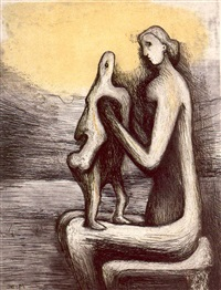 mother and child iv by henry moore