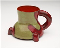 untitled (red & green footed cup) by ken price