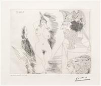 jeune femme et gentilhomme: sculpture egyptienne au socle peint, from the 347 series by pablo picasso