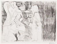 degas imaginant. scene de seduction entre deux filles, avec matrone hypocrite, from the 156 series by pablo picasso